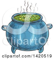 Clipart Of A Sketched And Color Filled Boiling Witch Cauldron Royalty Free Vector Illustration by Vector Tradition SM