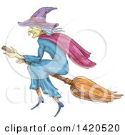 Clipart Of A Sketched And Color Filled Witch Flying On A Broomstick Royalty Free Vector Illustration