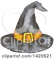 Clipart Of A Sketched And Color Filled Witch Hat Royalty Free Vector Illustration