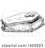 Clipart Of A Sketched Black And White Coffin Royalty Free Vector Illustration by Vector Tradition SM