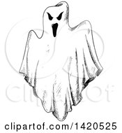 Clipart Of A Sketched Black And White Ghost Royalty Free Vector Illustration by Vector Tradition SM