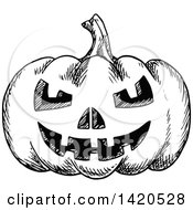 Clipart Of A Sketched Black And White Halloween Jackolantern Pumpkin Royalty Free Vector Illustration by Vector Tradition SM