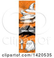 Clipart Of A Vertical Website Banner Of A Sketched Spider Web Crow On A Coffin Text And A Zombie Royalty Free Vector Illustration by Vector Tradition SM