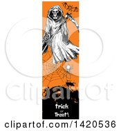 Clipart Of A Vertical Website Banner Of A Sketched Bat Grim Reaper And Spider Web Over Text Royalty Free Vector Illustration