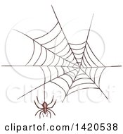 Clipart Of A Sketched And Color Filled Spider And Web Royalty Free Vector Illustration by Vector Tradition SM