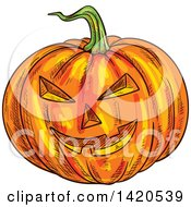 Clipart Of A Sketched Halloween Jackolantern Pumpkin Royalty Free Vector Illustration by Vector Tradition SM