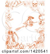 Clipart Of A Sketched Orange Witch Flying On A Broomstick In A Border Royalty Free Vector Illustration