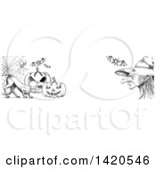 Clipart Of A Header Website Banner Of A Sketched Cat With Halloween Pumpkins Bats A Spider And Witch Royalty Free Vector Illustration by Vector Tradition SM
