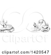 Clipart Of A Header Website Banner Of A Sketched Halloween Pumpkin Rising Zombie Crow And Coffin Royalty Free Vector Illustration by Vector Tradition SM