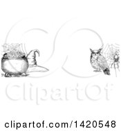 Clipart Of A Header Website Banner Of A Sketched Owl Spider Witch Hat And Cauldron Royalty Free Vector Illustration by Vector Tradition SM