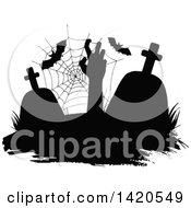 Clipart Of A Black And White Silhouetted Spider Web Tombstones Bats And A Rising Zombie Royalty Free Vector Illustration