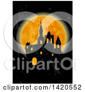 Clipart Of A Silhouetted Haunted Castle Against A Full Moon Royalty Free Vector Illustration by Vector Tradition SM