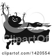 Clipart Of A Black And White Silhouetted Halloewen Pumpkin And Bare Trees Royalty Free Vector Illustration by Vector Tradition SM