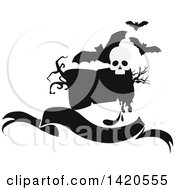Clipart Of A Black And White Silhouetted Sign Banner Bats And Skull Royalty Free Vector Illustration