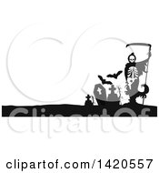 Clipart Of A Black And White Silhouetted Grim Reaper And Bats In A Cemetery Royalty Free Vector Illustration