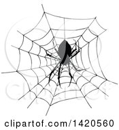 Clipart Of A Sketched Black And White Silhouetted Spider In A Web Royalty Free Vector Illustration by Vector Tradition SM