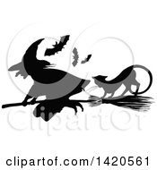Clipart Of A Black And White Silhouetted Cat Bats And Flying Witch Royalty Free Vector Illustration