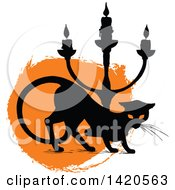 Clipart Of A Silhouetted Black Cat And Candle Stick Over Orange Royalty Free Vector Illustration by Vector Tradition SM