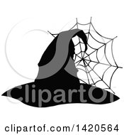 Clipart Of A Black And White Silhouetted Witch Hat And Spider Web Royalty Free Vector Illustration