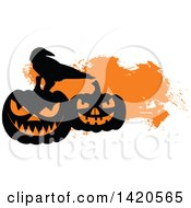 Clipart Of A Silhouetted Crow On Halloween Pumpkins Over Orange Royalty Free Vector Illustration by Vector Tradition SM