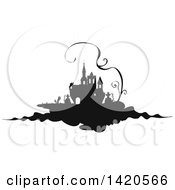 Clipart Of A Black And White Silhouetted Haunted Castle With A Cemetery And Vine Royalty Free Vector Illustration by Vector Tradition SM