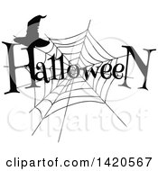 Clipart Of A Black And White Silhouetted Spider Web Halloween Text And Witch Hat Royalty Free Vector Illustration