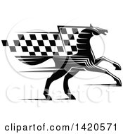 Black And White Horse With A Checkered Racing Flag Mane