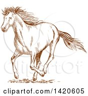 Clipart Of A Sketched Brown Horse Royalty Free Vector Illustration