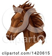 Clipart Of A Sketched And Color Filled Brown Horse Head Royalty Free Vector Illustration
