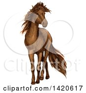 Clipart Of A Sketched And Color Filled Brown Horse Royalty Free Vector Illustration