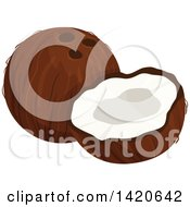 Clipart Of A Coconut And Half Royalty Free Vector Illustration by Vector Tradition SM
