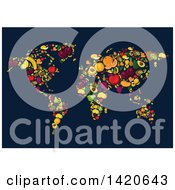 Clipart Of A World Map Of Fruit On Dark Blue Royalty Free Vector Illustration by Vector Tradition SM
