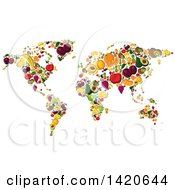 Clipart Of A World Map Of Fruit Royalty Free Vector Illustration by Vector Tradition SM