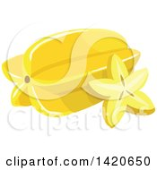 Clipart Of A Starfruit Royalty Free Vector Illustration