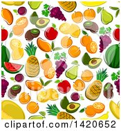 Clipart Of A Seamless Pattern Background Of Fruit Royalty Free Vector Illustration