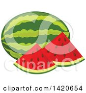 Clipart Of Watermelon Slices And Whole Melon Royalty Free Vector Illustration by Vector Tradition SM