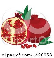 Clipart Of Pomegranates Leaves And Seeds Royalty Free Vector Illustration by Vector Tradition SM