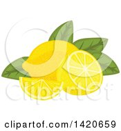 Clipart Of Lemons And Leaves Royalty Free Vector Illustration by Vector Tradition SM