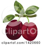 Clipart Of Plums On A Branch Royalty Free Vector Illustration by Seamartini Graphics