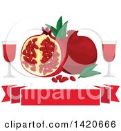 Clipart Of Pomegranates Leaves And Seeds With Juice Over Banners Royalty Free Vector Illustration by Vector Tradition SM
