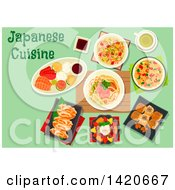 Clipart Of A Table Set With Japanese Cuisine Royalty Free Vector Illustration by Vector Tradition SM