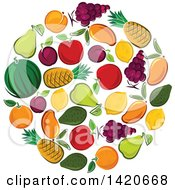 Clipart Of A Circle Of Fruit Royalty Free Vector Illustration by Seamartini Graphics