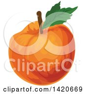 Clipart Of A Peach Apricot Or Nectarine Royalty Free Vector Illustration by Vector Tradition SM