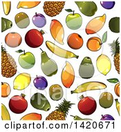Clipart Of A Seamless Pattern Background Of Fruit Royalty Free Vector Illustration by Vector Tradition SM