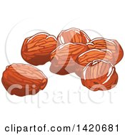 Clipart Of Dried Dates Royalty Free Vector Illustration