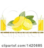 Clipart Of Lemons And Leaves With Glasses Of Juice Over A Brown Line Royalty Free Vector Illustration by Vector Tradition SM