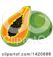 Clipart Of Papayas Royalty Free Vector Illustration by Vector Tradition SM