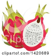 Clipart Of Dragon Fruits Royalty Free Vector Illustration by Vector Tradition SM