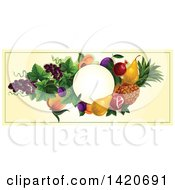 Blank Oval Banner Framed With Pomegranate Pears Pineapple Plums Grapes Peaches And Apricots On Beige