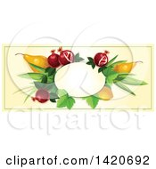 Clipart Of A Blank Oval Banner Framed With Pomegranate Lemon And Pears On Beige Royalty Free Vector Illustration